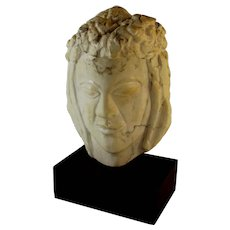 Medium Abstract Alabaster Sculpture of a Head, signed H.R Lampe
