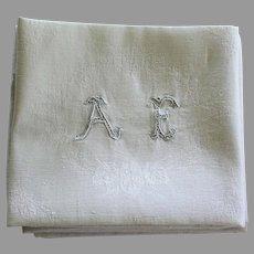 Set of 8 Antique French White Monogrammed Napkins A E plus 1