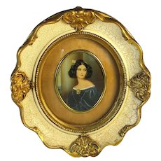 Antique Miniature Portrait of a Lady in a Blue Dress B