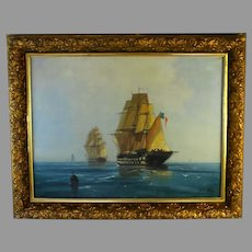 Oil Painting of French Frigates by James B. Northon