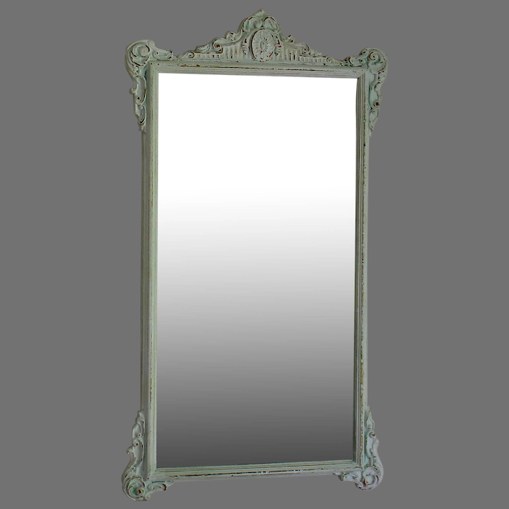 19th C Etched Mirror With Distressed White Wood Frame Juliet Jones Vintage Ruby Lane