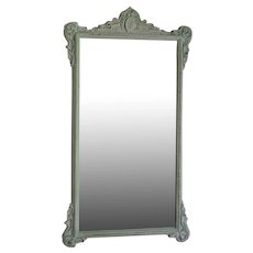 19th C Etched Mirror with Distressed White Wood Frame
