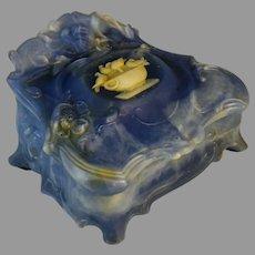 Genuine Vintage Blue Incolay Stone Jewelry Box Trinket Doves