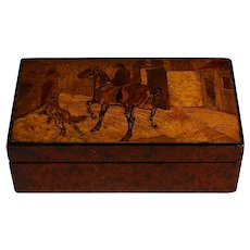 Antique Inlaid Marquetry Box Hunting Dog Horse