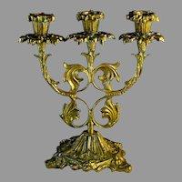 Vintage Ornate Brass Three Cup Candelabra Candle Stick