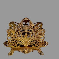Antique Gilded Bronze Letter Holder Stand