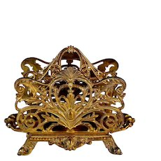 Antique Gilded Bronze Letter Holder Stand