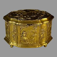 Vintage Repousse Gilded Brass Jewelry, Trinket Box