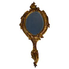Antique French Louis XV Style Bronze Hand Mirror Leaves Flowers