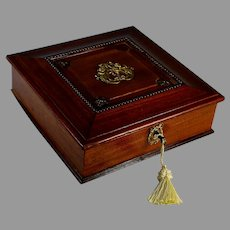 Antique French Chestnut Wood Box with Crest, Putti and Key