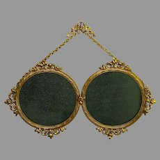 19th C French Gilded Double Floral Top Hanging Photo Frame