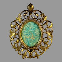 Vintage Oval Gilded Metal Photo Frame with Easel