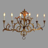 Large Early 20th C Seven Arm French Gilded Metal Sconce