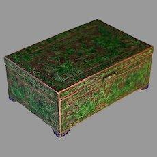 Antique Chinese Export Enamel Cloisonné Bird Scenery Lidded Box