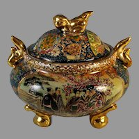 Vintage Satsuma Urn with Lid Foo dog