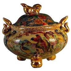 Vintage Ceramic Satsuma Urn with Lid Bird Decoration