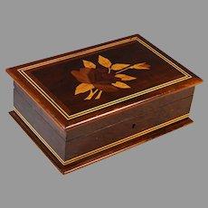 Vintage Inlaid Wood Dresser Box with Flowers