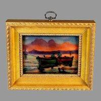 Enamel Limoges Plaque Painting Fishermen at Sunset Signed
