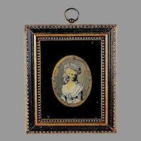 Vintage Eglomise Miniature Portrait of Madame Lamballe