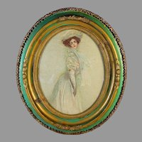 Antique Oval French Wood Frame with Print of a Young Lady