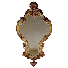 "Antique Gilt Wood and Gesso Crested Mirror 25 1/2"" by 14 1/2"""