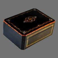 Antique Napoleon III Inlaid Wood Dresser Box