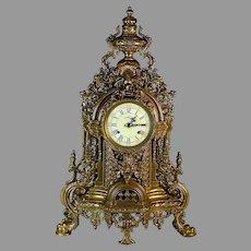 Vintage Gilded Italian Regency Style Brass Striking Mantel Clock Grotesque