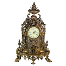 Vintage Gilded Italian Regency Style Brass Striking Mantel Clock Grotesque