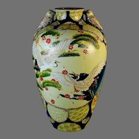 Chinese Glazed Vase Republic Period with Bird Handles and Cranes