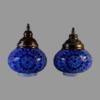 Original Vintage Mosaic Glass Wall Sconce Shades set of 2
