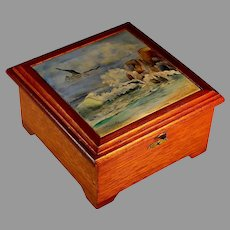 Vintage Square Wood Box with inlaid Hand Painted Signed Tile Top