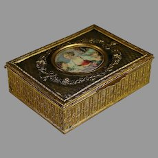 Napoleon III Repousse Brass Dresser Box with Center Medallion