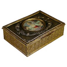 Napoleon III Repousse Brass Dresser Box with Center Medallion