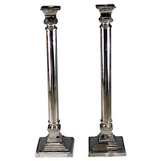 "Set of Large Silver plate Candlesticks Candle Holder Set 21"" tall"