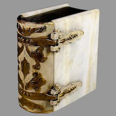 Interesting Antique Alabaster Box in the Shape of a Book