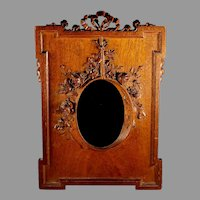 Stunning Antique Black Forest Hand Carved Photo Picture Frame
