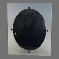 Unusual Antique Convex Jeweled Bubble Glass Photo Frame