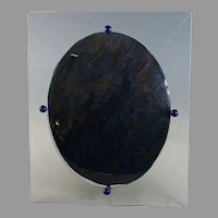Unusual Antique Convex Jeweled Bubble Glass Photo Frame