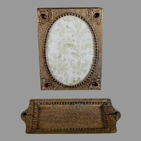 Beautiful Gilt Filigree and Jeweled Photo Frame and Card Tray