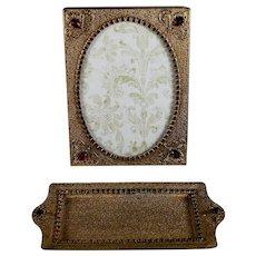 Beautiful Gilt Filigree and Jeweled Photo Frame and Card Tray