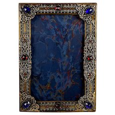 Antique Jeweled Photo Picture Frame, Cabochons B