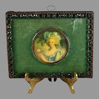 19c Miniature Hand Painted Portrait of Marie Antoinette