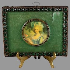 19c Miniature Hand Painted Portrait of Marie Antoinette