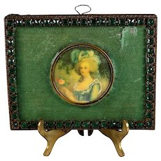 19c Miniature Hand Painted Portrait of a Young Lady a Green Dress