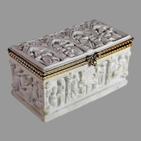 Antique High Relief White Porcelain Limoges French Brass Hinged Trinket Box