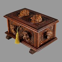 French Antique Hand Carved Box with Faces and Key, Grotesques