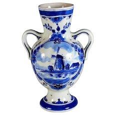 Vintage Handpainted Porceleyne Fles Delft Blue Windmill Vase