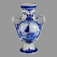 Vintage Hand-painted Porceleyne Fles Delft Blue Sail Boat Vase
