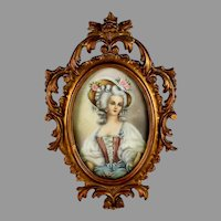 Antique Portrait of a Lady on Silk with Florentine Frame