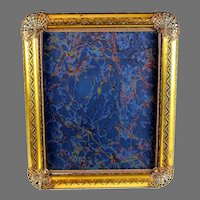 Antique Gilt Metal Picture Photo Frame, Reticulated Corners